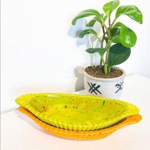 VINTAGE Pastry Dishes In Vibrant Orange & Green
